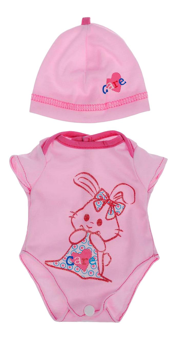 Боди розовый цвет в наборе с шапочкой, размер: 30x20 см для кукол Junfa toys