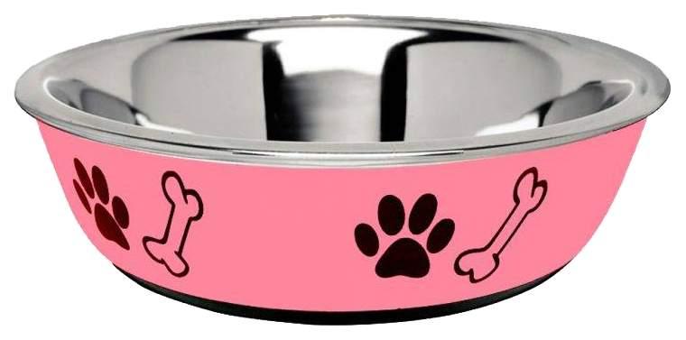 Одинарная миска для кошек и собак Ankur, сталь, резина, розовый, 0.45 л