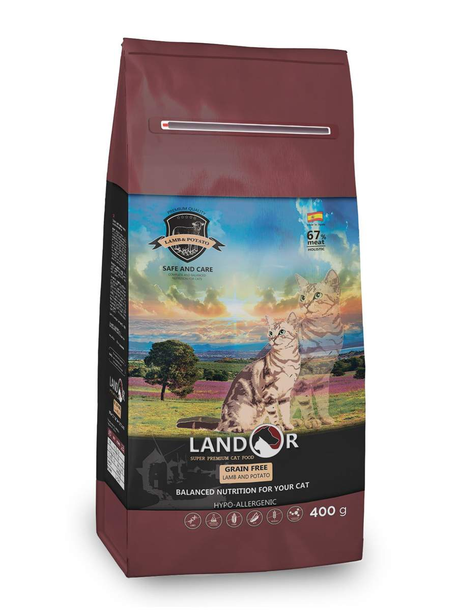 Сухой корм для кошек Landor Grain Free HAIRBALL&WEIGHT CONTROL, ягненок, 0,4кг