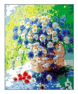 Купить раскраска по номерам Рыжий Кот Цветы в корзине ...