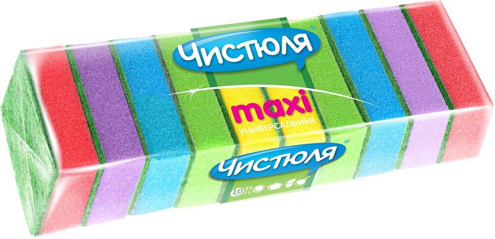 Губка для посуды ЧИСТЮЛЯ Maxi 10 шт