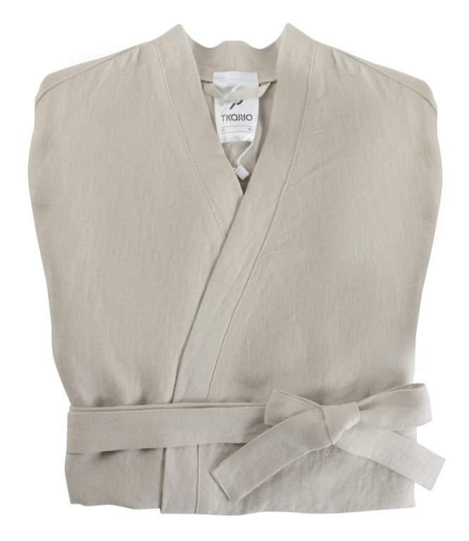 Халат из умягченного льна бежевого цвета Essential S