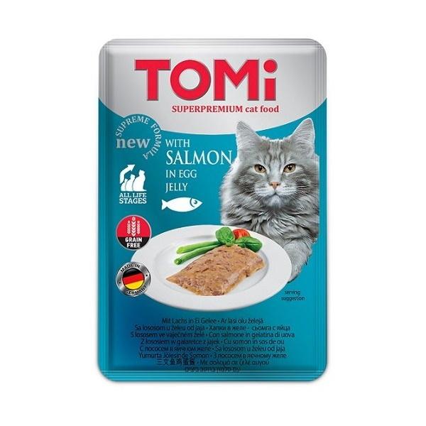 Влажный корм для кошек Tomi, c лососем в яичном желе, 100г