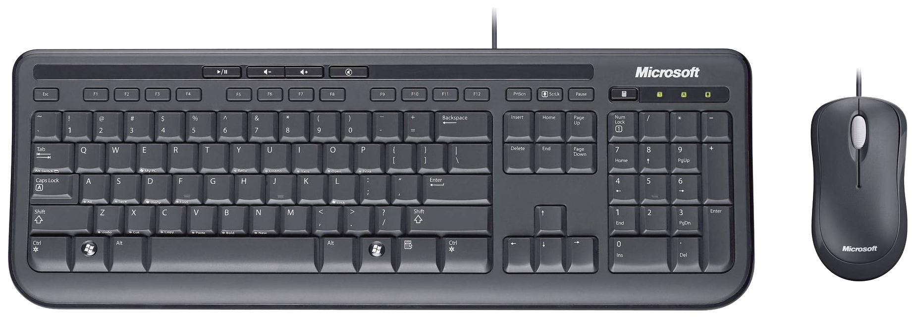Комплект клавиатура и мышь Microsoft Wired Desktop 600