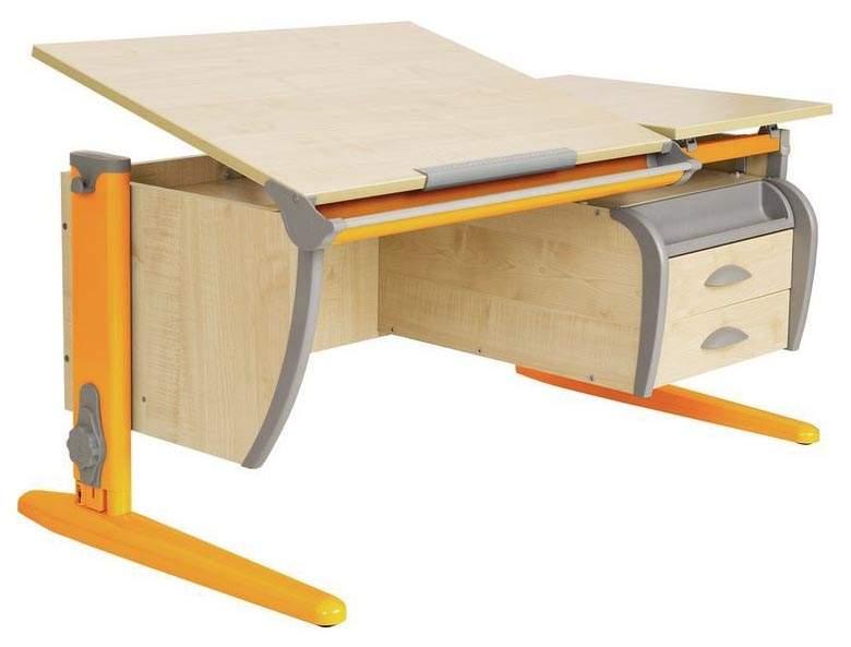 Парта Дэми 120Х55 см С подвесной тумбой Клен Оранжевый