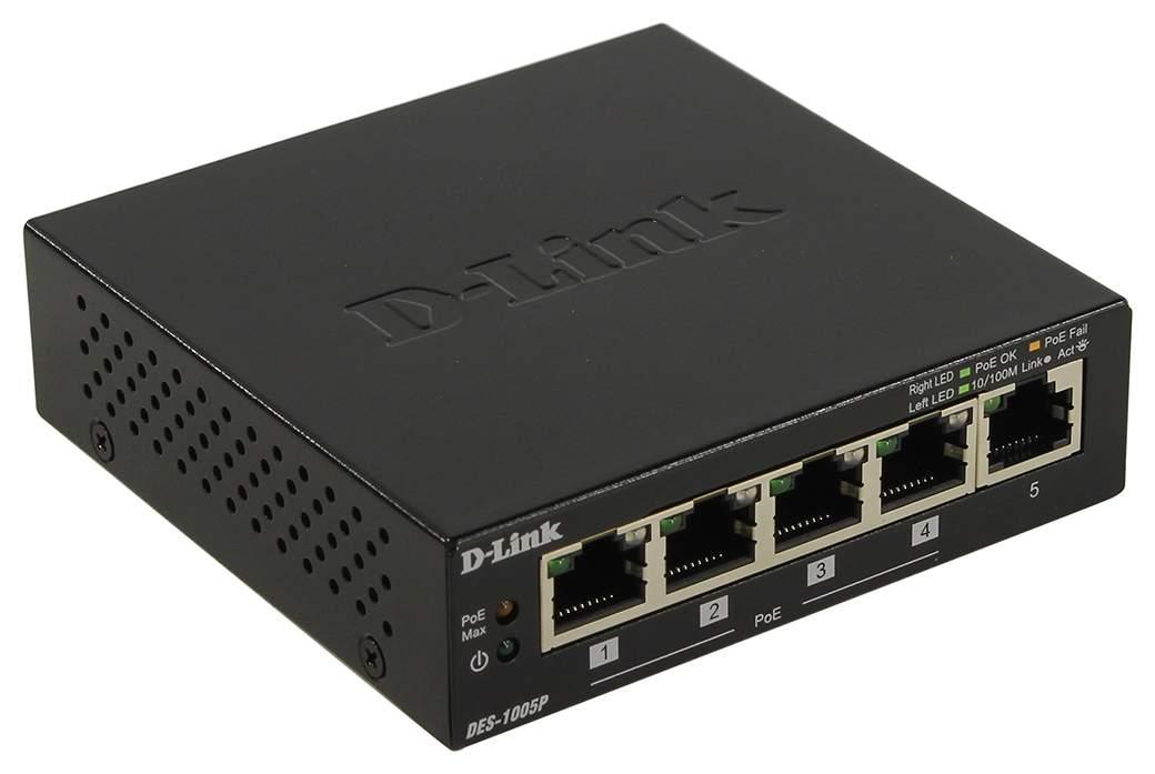 Коммутатор D-Link DES-1005P/B1A Black