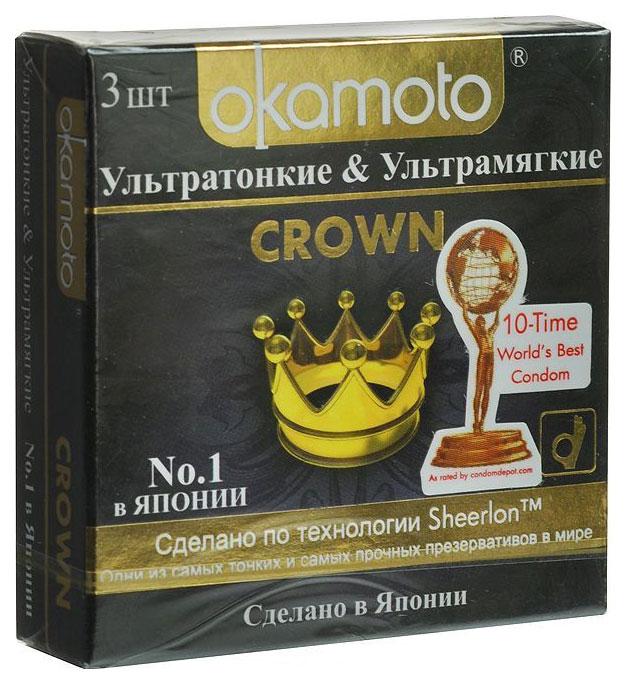 Презервативы Okamoto Crown ультратонкие телесные 3 шт.