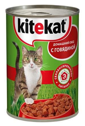 Консервы для кошек KiteKat Домашний обед, говядина, 410г