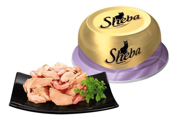 Консервы для кошек Sheba Classic коктейль из тунца и отборных креветок, 80г