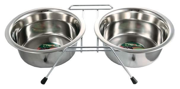 Двойная миска для кошек и собак Triol, сталь, серебристый, 2 шт по 0.2 л