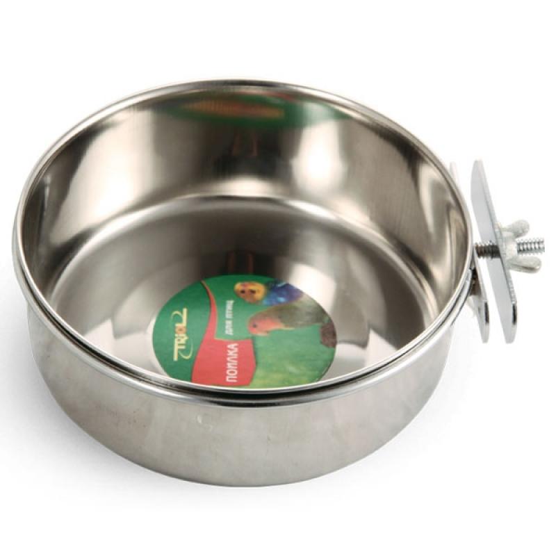 Одинарная миска для грызунов и птиц Triol, металл, серебристый, 0.8 л