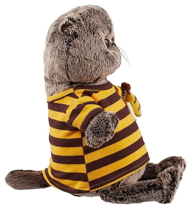 Мягкая игрушка BUDI BASA Басик в полосатой футболке с пчелой, 22 см