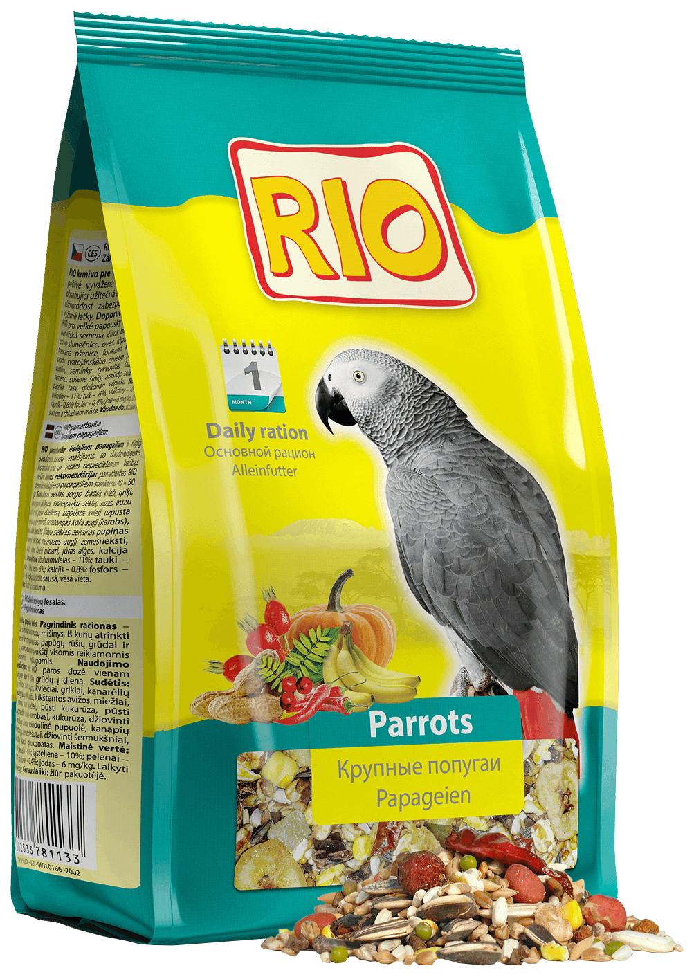 Корм для крупных попугаев RIO Parrots, 1кг