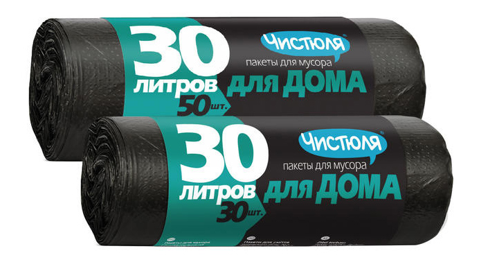 Мешок для мусора ЧИСТЮЛЯ рулон 30 л прочные