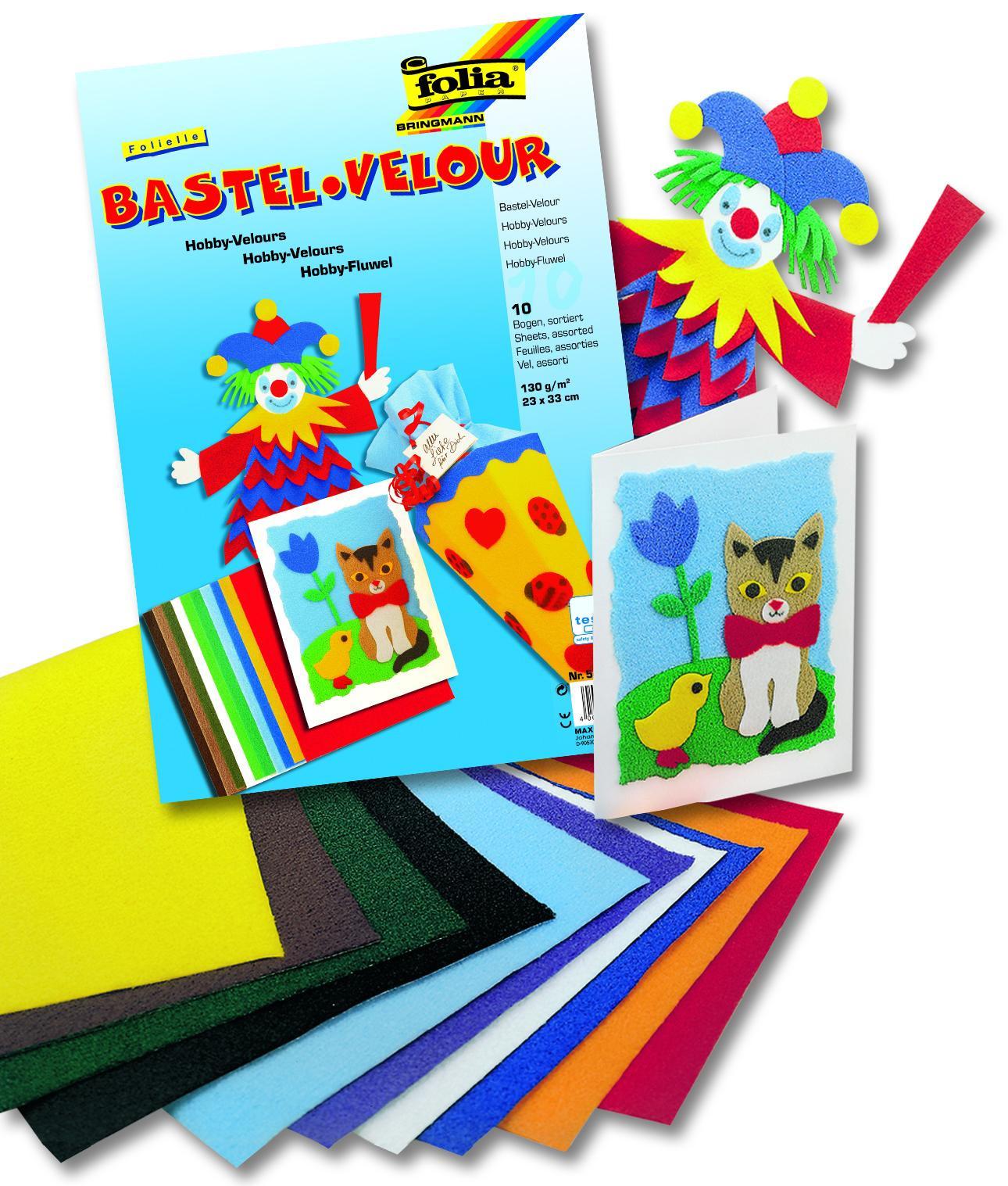 Бумага цветная бархатная, 10 цветов