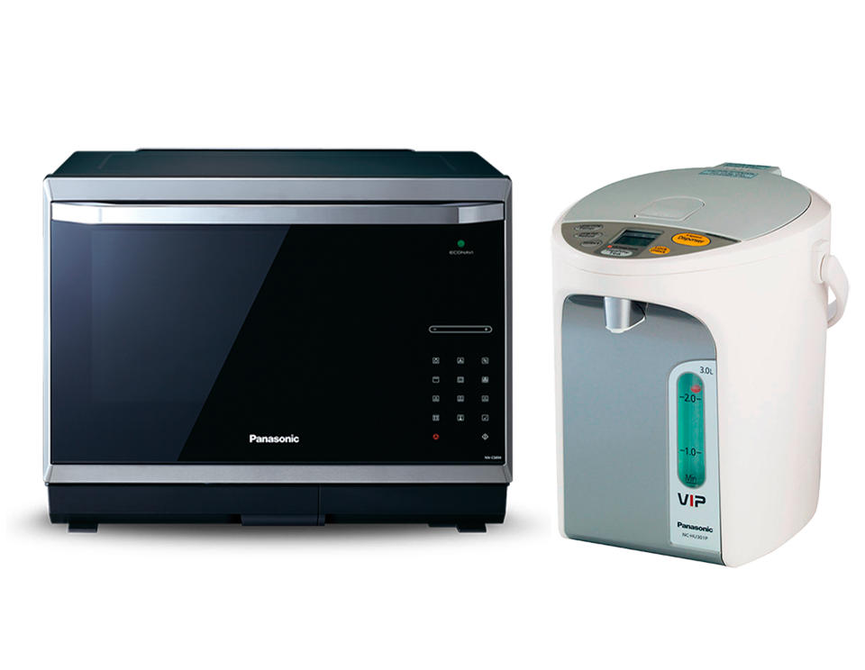 Микроволновая печь с грилем и конвекцией Panasonic NN-CS894BZPE + термопот NC-HU301PZTW