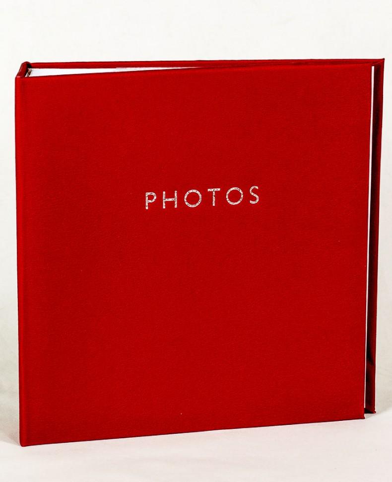 Фотоальбом с красной обложкой из эко-кожи, 200 фото 10х15 см, кармашки