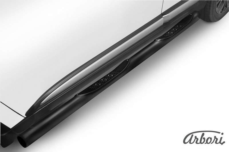 Защита порогов d76 с проступями Arbori черн. для Mitsubishi OUTLANDER 2015-нв