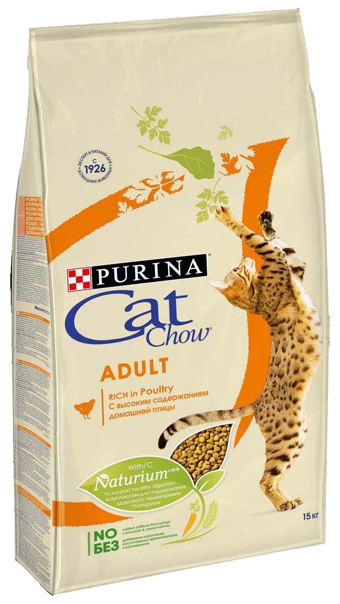 Сухой корм для кошек Cat Chow Adult, домашняя птица, 15кг