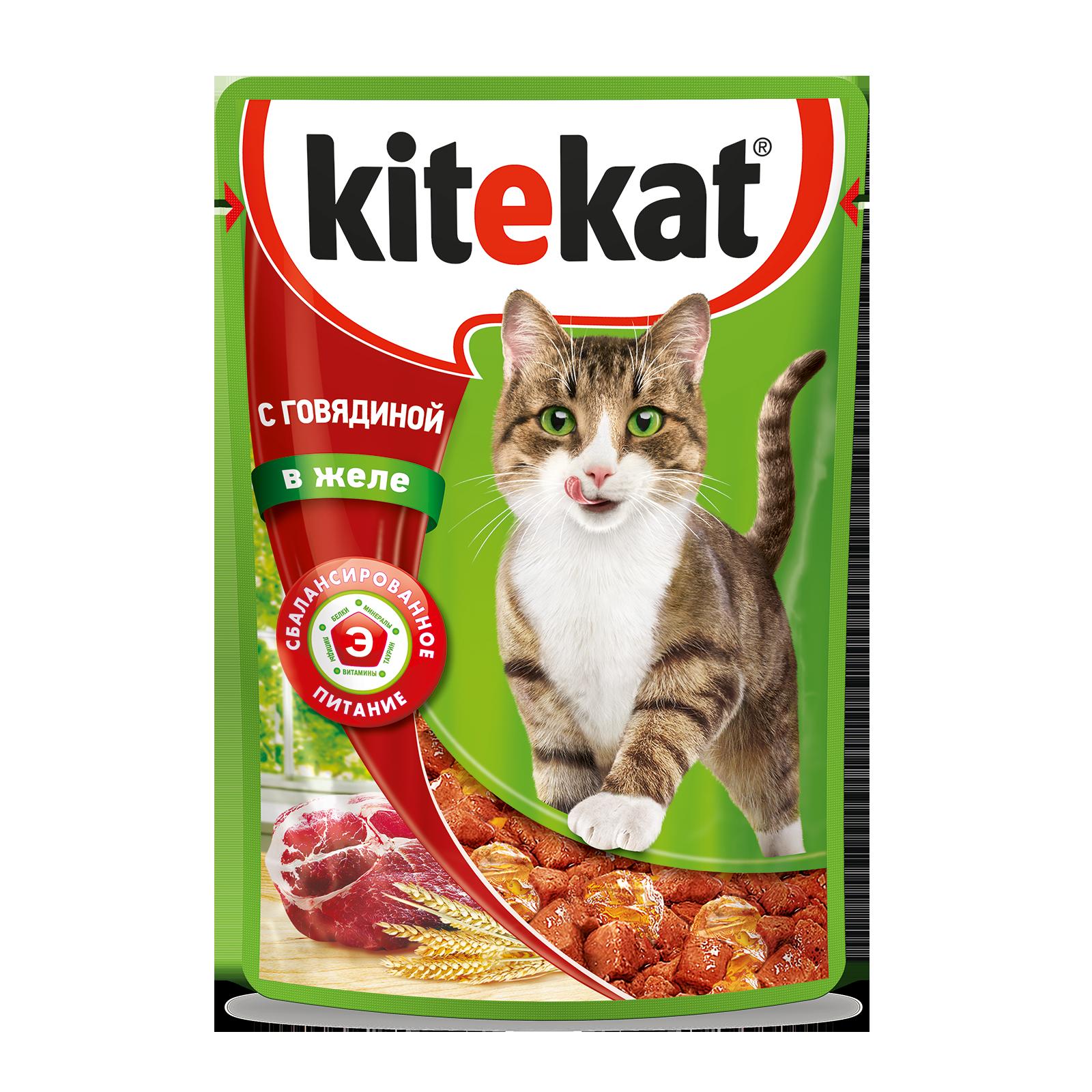 Влажный корм для кошек Kitekat с сочными кусочками говядины в желе, 85г