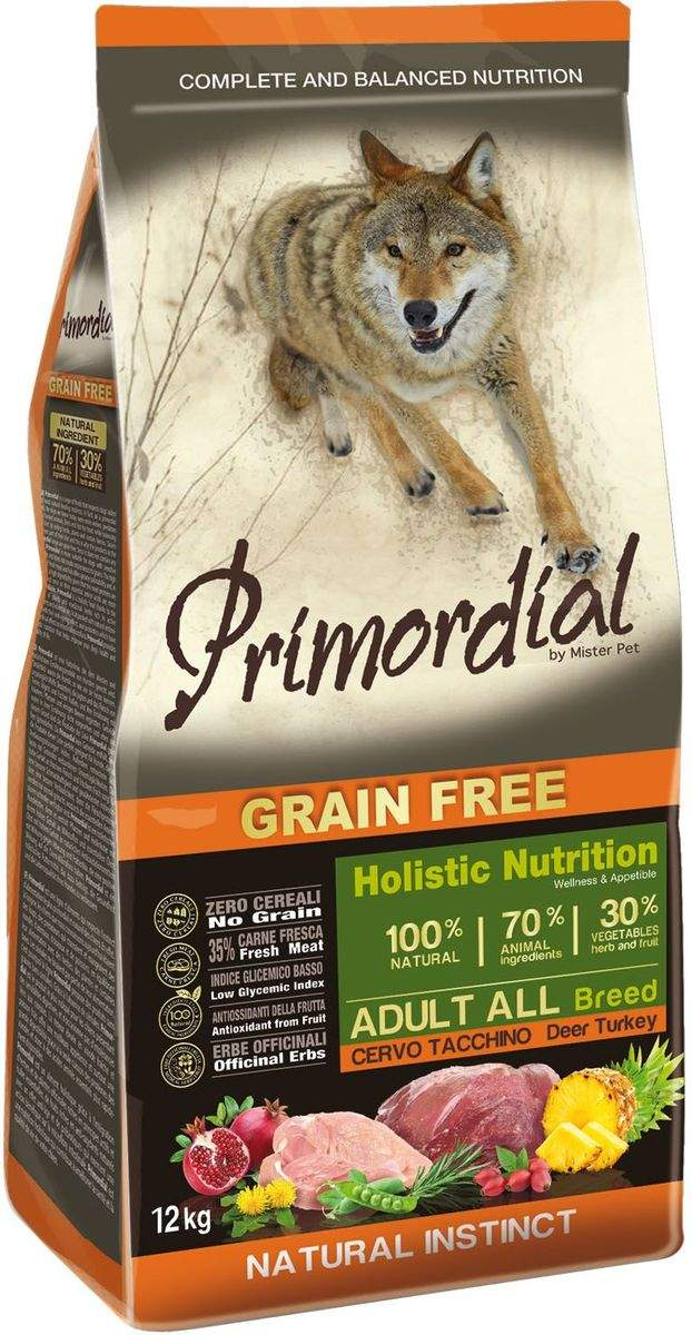 Сухой корм для собак Primordial Grain Free Adult All, индейка, оленина, 12кг