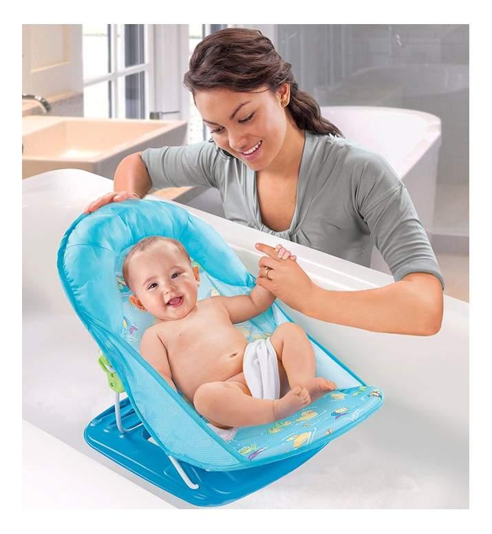 Лежак с подголовником для купания deluxe baby bather, голубой