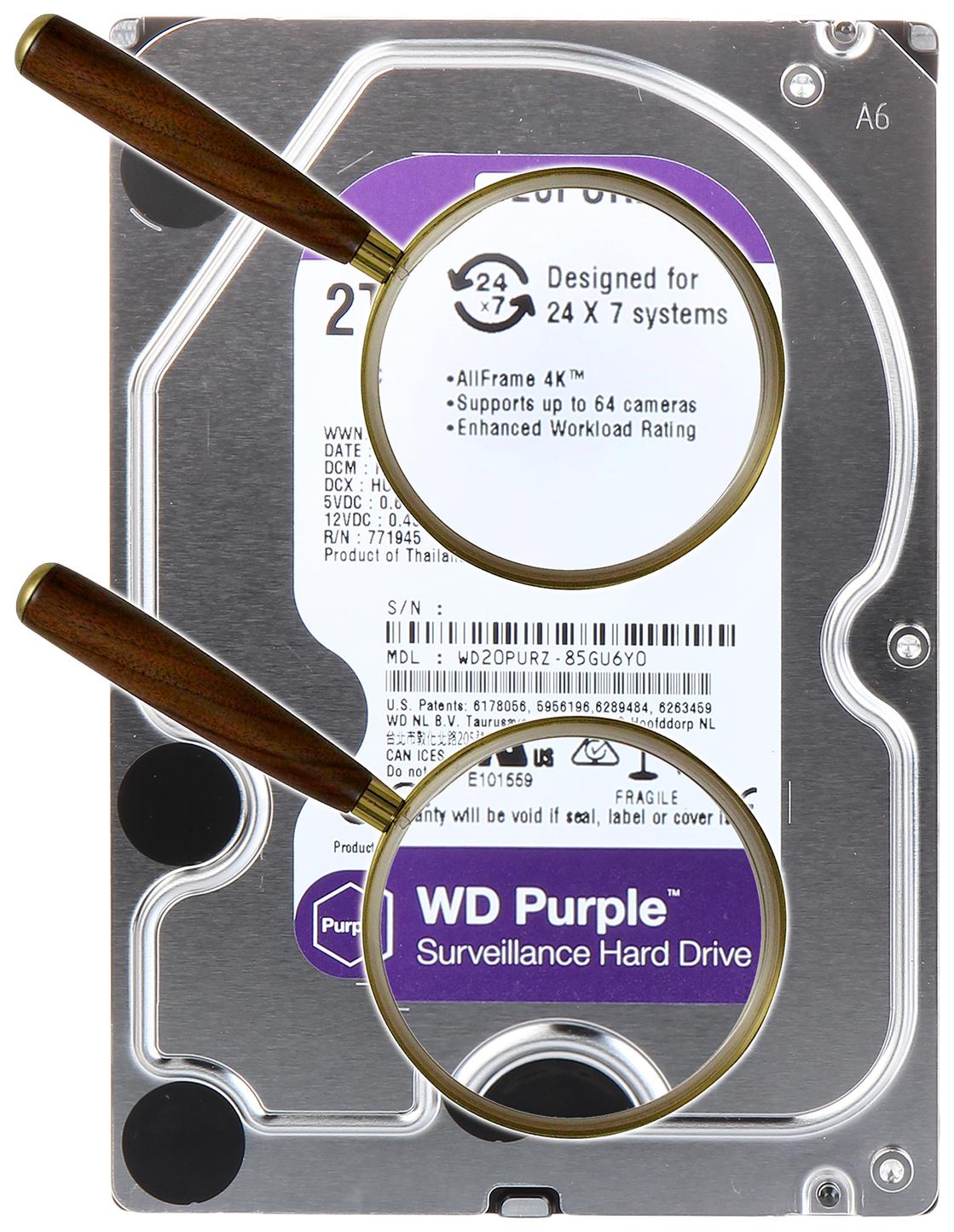 Внутренний жесткий диск Western Digital Purple 2TB (WD20PURZ)