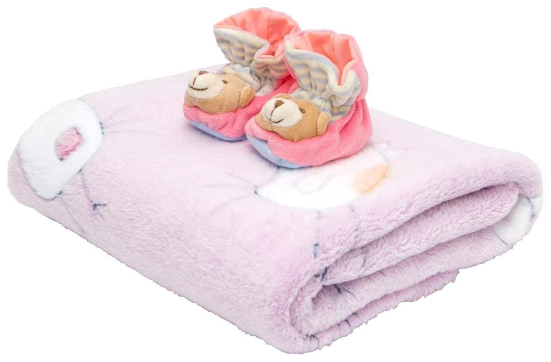 Плед+пинетки велюровые Baby Nice Птичка 100x118 розовый