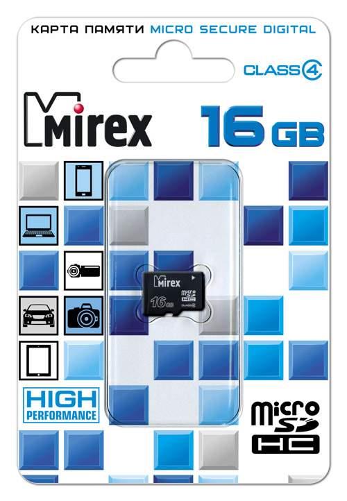 Карта памяти MIREX Micro SDHC 16GB