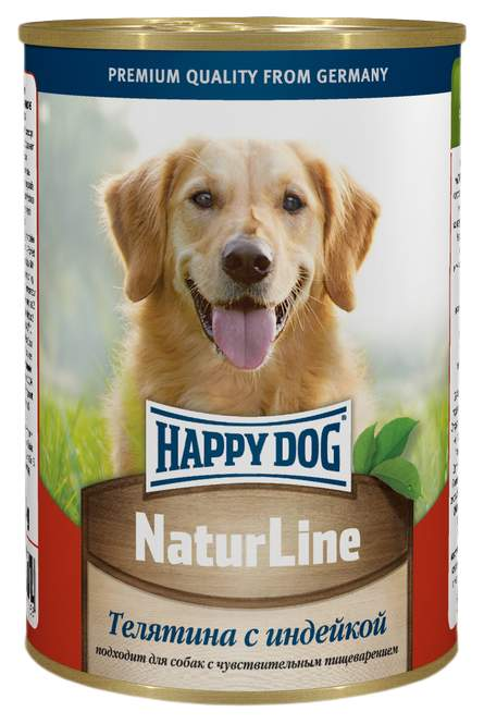 Консервы для собак Happy Dog NaturLine, телятина, индейка, 400г