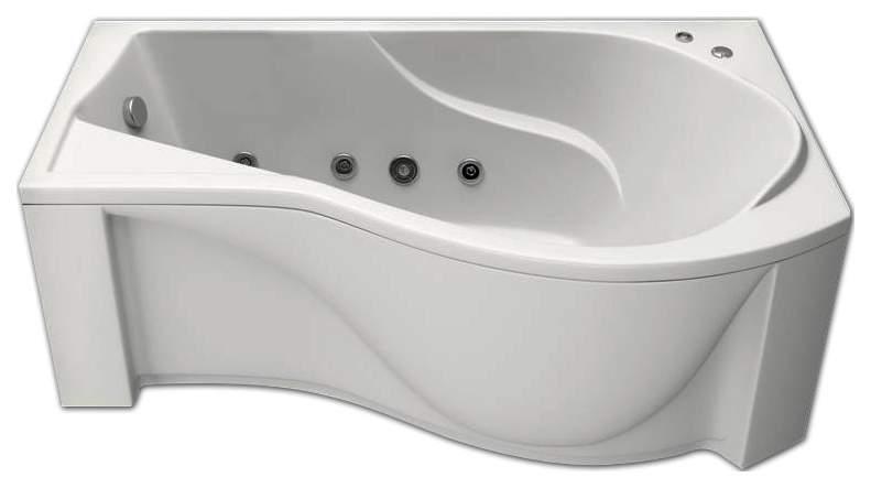 Акриловая ванна BAS Капри 170х80 c гидромассажем правая