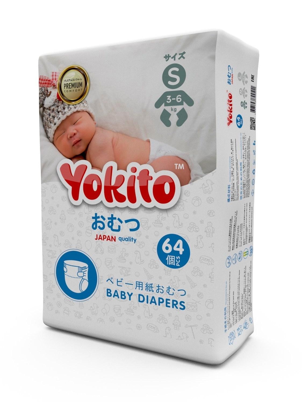 Подгузники для новорожденных на липучках YOKITO PREMIUM S (3-6 кг) 64 шт.
