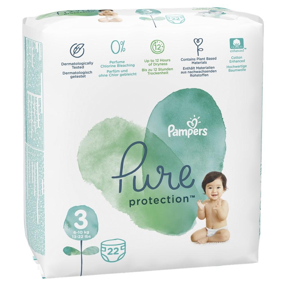 Подгузники Pampers Pure Protection 6-10 кг, размер 3, 22 шт.