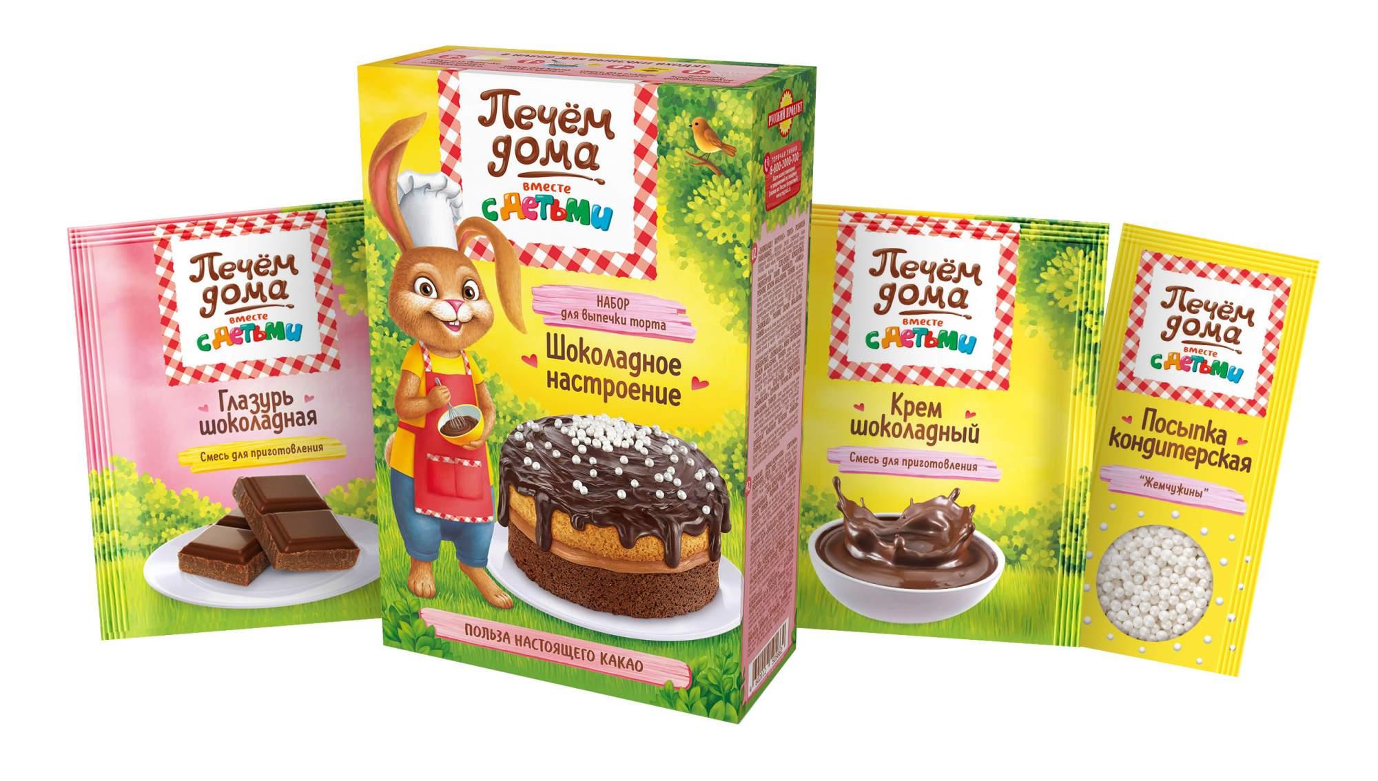 Набор для выпечки торта шоколадное настроение Печем дома смесь и украшение 360 г