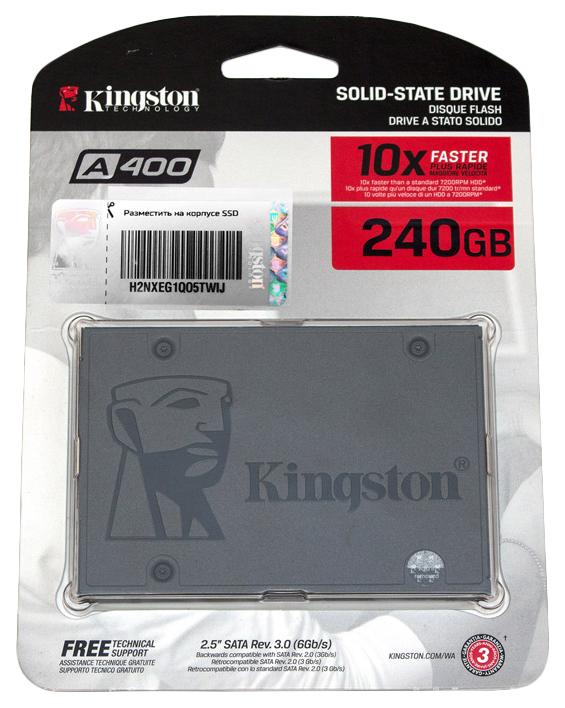 Миниатюра Внутренний SSD накопитель Kingston A400 240GB (SA400S37) №6