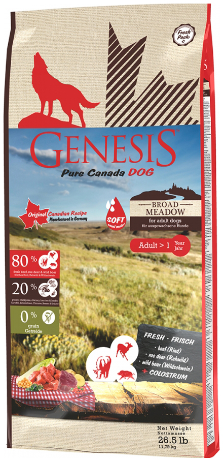 Сухой корм для собак Genesis Pure Canada Broad Meadow Adult, дичь, говядина, 2.268кг