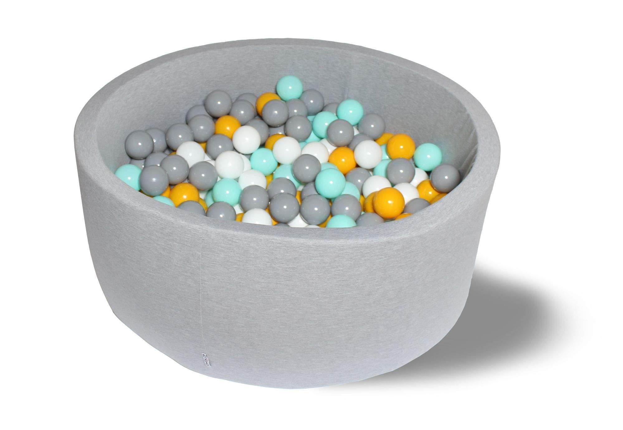 Сухой игровой бассейн Цветомузыка 40см с 200 шарами: белый, серый, мятный, желтый