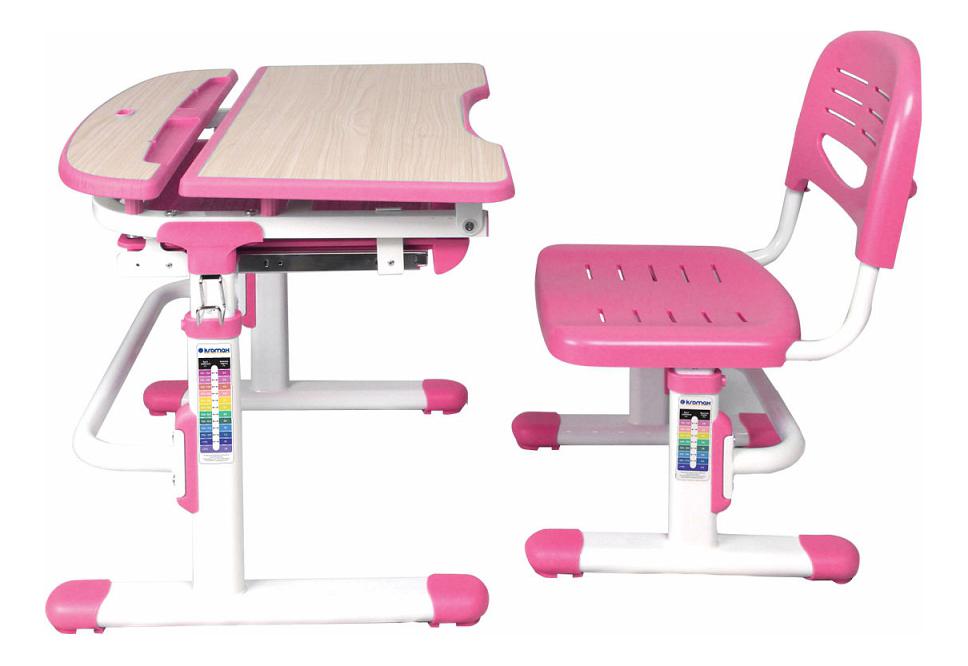 Парта и стул Kromax Alphabet Eva pink