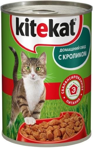 Консервы для кошек KiteKat Домашний обед, с кроликом, 410г