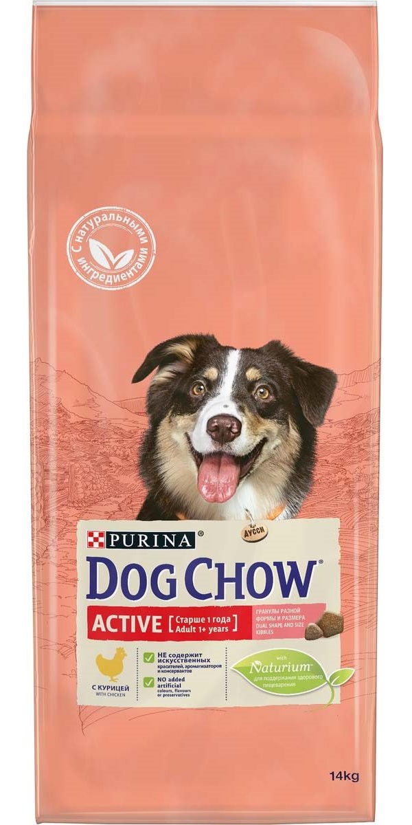 Сухой корм для собак Dog Chow Active, для активных, курица, 14кг