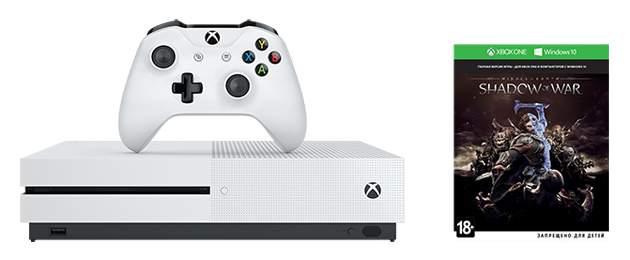 Игровая приставка Microsoft Xbox One S 500Gb White + Shadow of War