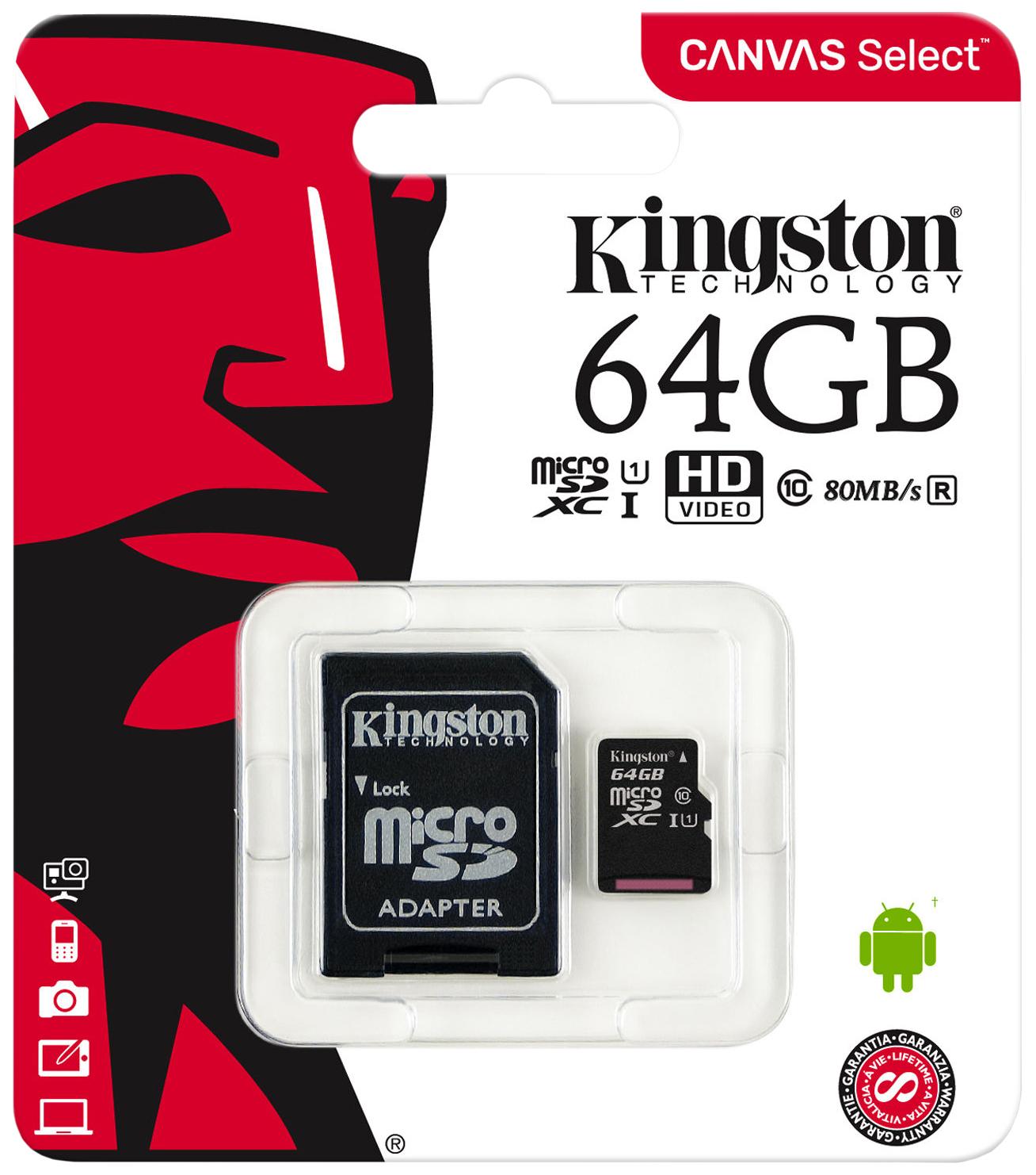 Карта памяти Kingston Micro SDHC SDCS 64GB