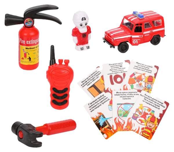 Набор пожарного, фигурка, машина инерц., аксессуары 3 шт., обучающие карточки, пакет