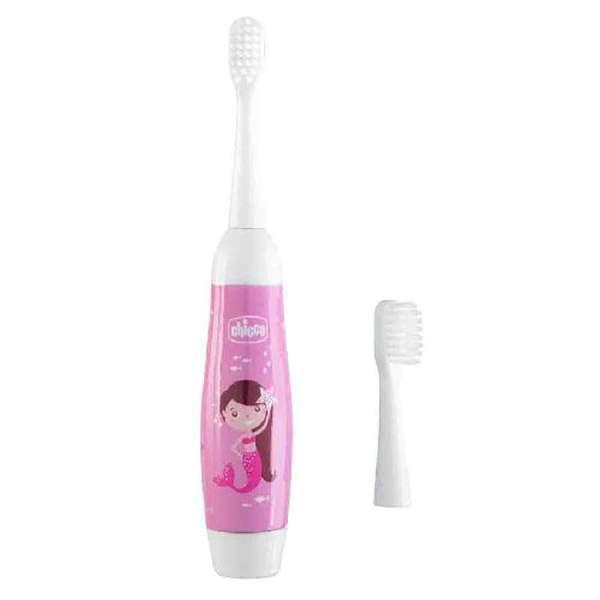 Зубная щетка электрическая детская Chicco розовая 3г+