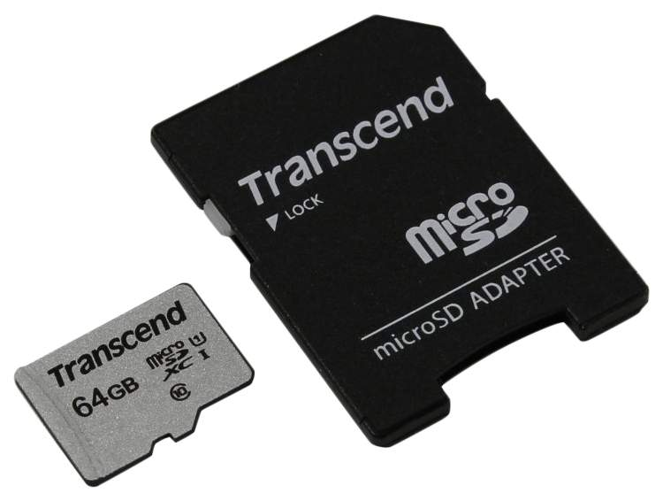 Карта памяти Transcend Micro SDHC TS64GUSD300S-A 64GB