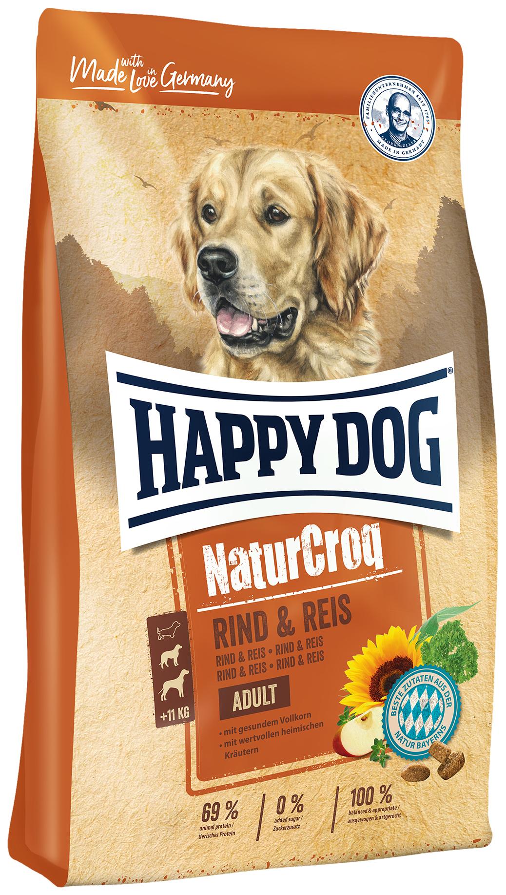 Сухой корм для собак Happy Dog NatureCroq Adult, говядина, рис, 15кг