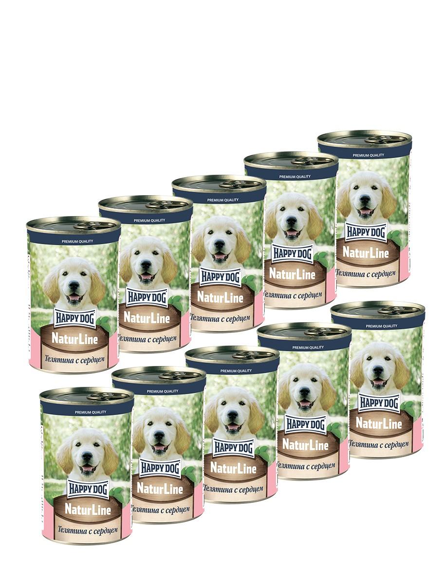 Фотография Консервы для собак Happy Dog , телятина с сердцем, 10шт, 410г №1