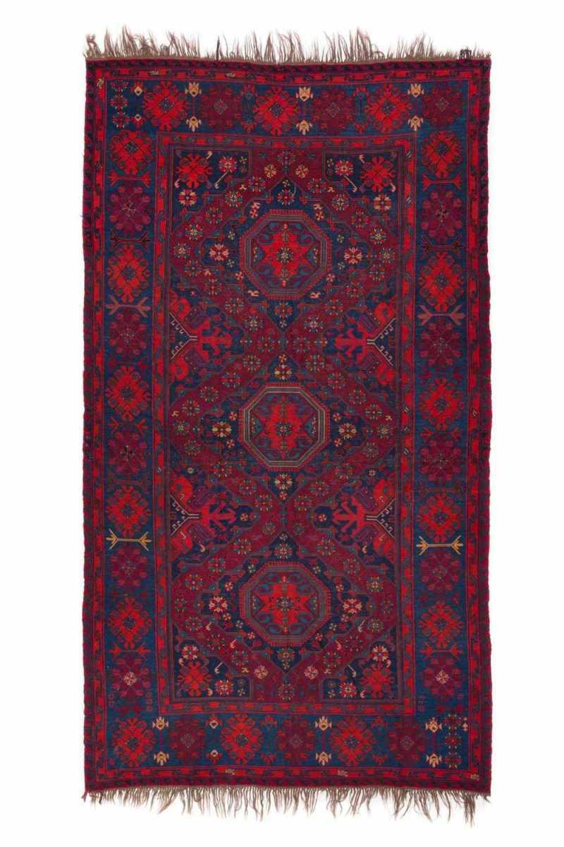 Антикварный Азербайджанский Ковер Сумах (синий и красный)