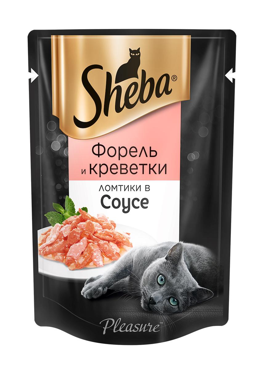 Миниатюра Влажный корм для кошек Sheba Pleasure ломтики из форели и креветок в соусе, 85г х 24шт №4