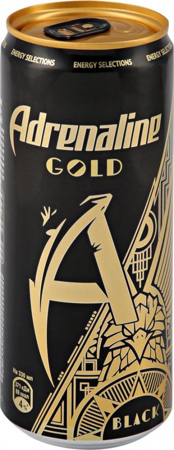 Миниатюра Напиток Adrenaline Gold Энергетический Черное Золото 330мл №1